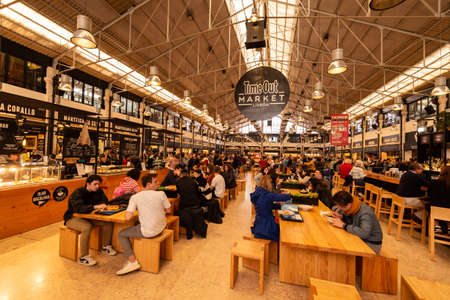 Lisbon, Portugal - 2 March 2020: Interior of Time Out Market food hall in Mercado da Ribeira