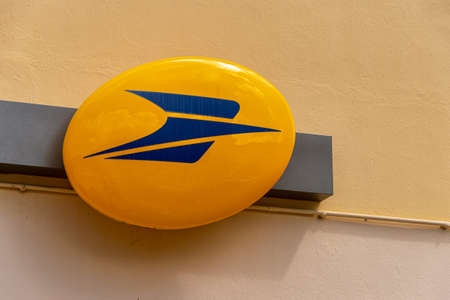 Martinique, France - 18 August 2019: Logo of La Poste, French national postal service on Rue Nationale. Editorial