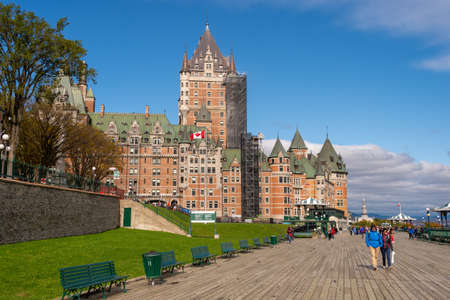 Quebec City, Canada - 4 October 2019: Tourists walking on the pedestrian walkway at Chateau Frontenac