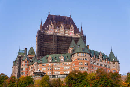 Quebec City, Canada - 5 October 2019: Renovation work being done at the Chateau Frontenac