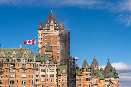 Quebec City, Canada - 4 October 2019: Renovation work being done at the Chateau Frontenac