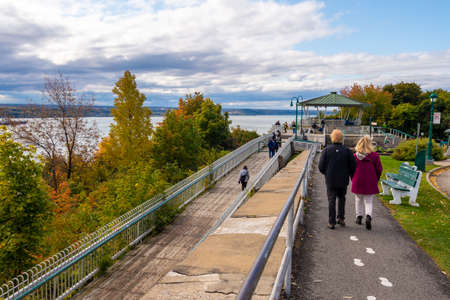 Quebec City, CA - 4 October 2019 - Tourists visiting Quebec Governor's Promenade