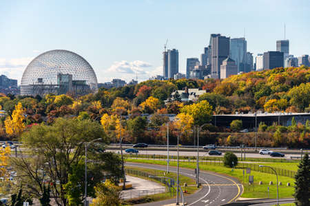 Longueuil, CANADA - 15 October 2019: Biosphere & Montreal Skyline from Jacques-Cartier Bridge in the autumn season.