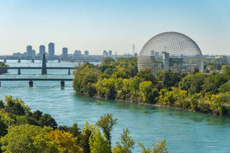 Montreal, CANADA - 19 September 2019: Biosphere & Saint-Lawrence River from Jacques-Cartier Bridge.
