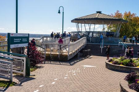 Quebec City, CA - 5 October 2019 - Tourists visiting Quebec Governors Promenade