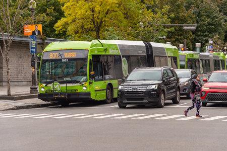 Quebec City, Canada - 4 October 2019: A RTC Bus on Rue de la Couronne.