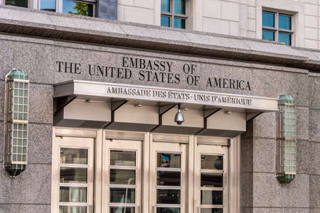 Ottawa, CA - 9 October 2019: Facade of the Embassy of the United States of America