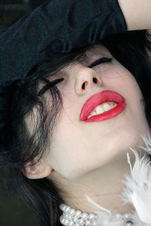 Girl�s face with sensual lips photo