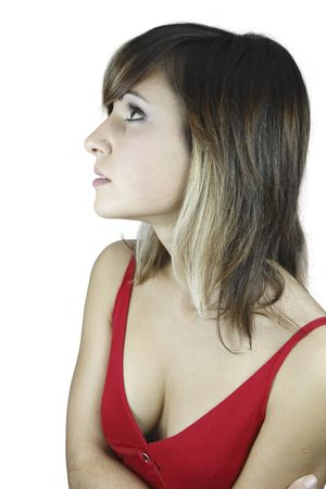 A nice girl in red with a a nose piercing showing her cleavage.