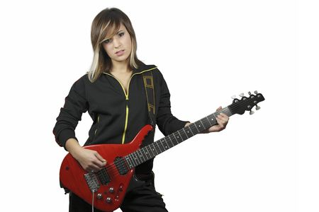 A nice girl with a a red electric guitar.