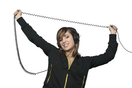 A nice smiling girl with headphones and a happy pose. photo