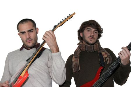 Two young men with electric guitars photo