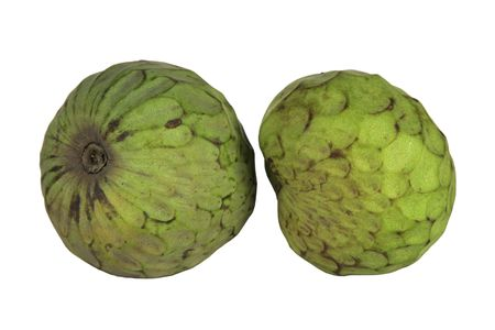 Two custard apples isolated on a white background. Stock Photo