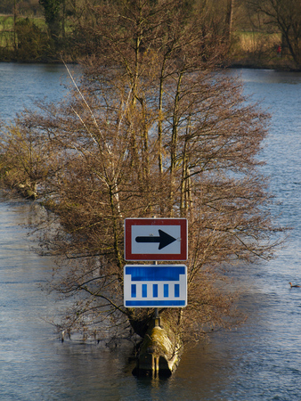 waterway sign in the middle of the river