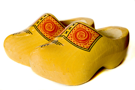 sturdy: wooden shoes isolated Stock Photo
