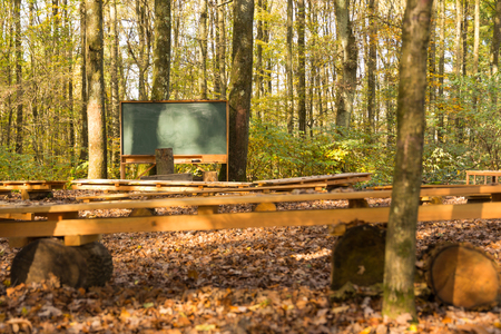 empty outdoor class room in forest with blank classic green chalk board, school desks and benches for students with trees as backdrop and brown autumn color leaves on ground