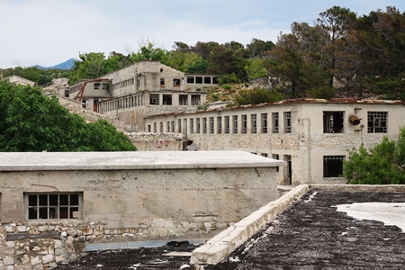 Buildings on the island of Goli otok,Croatia,Europe Stock Photo