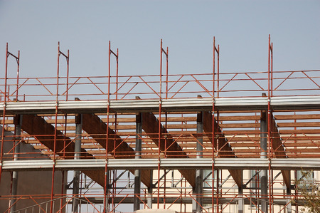 upper floor: scaffolding for construction workers Stock Photo