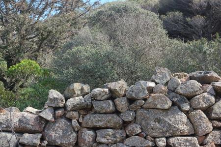 wall of granite pebbles