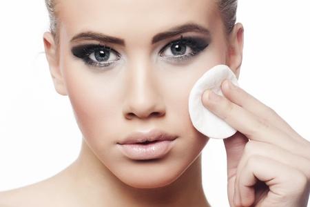 Removing makeup Stock Photo