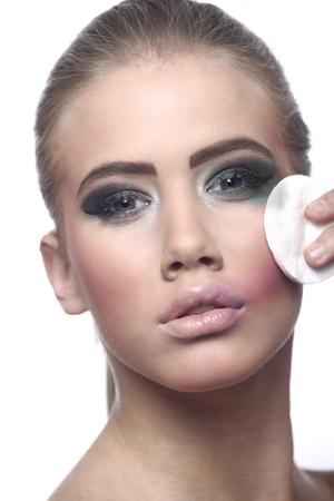 removing make up: Removing makeup Stock Photo