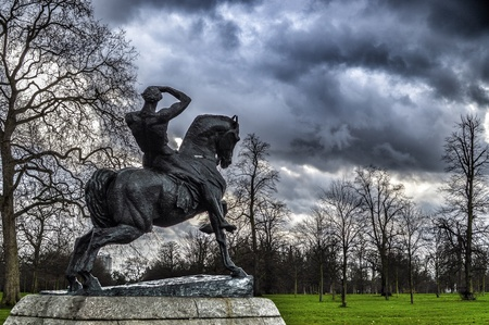 hyde: Cloudy day in London Hyde Park Stock Photo