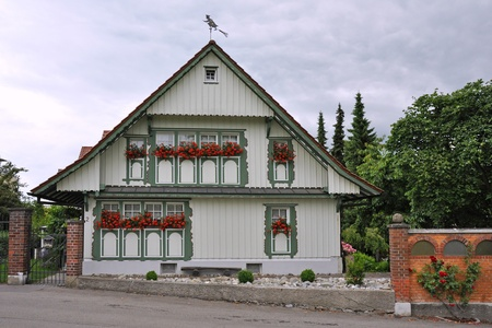 House in a typical bavarian construction in Wasserburg at Lake Constance