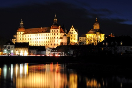 Castle in Bavaria illuminated at night
