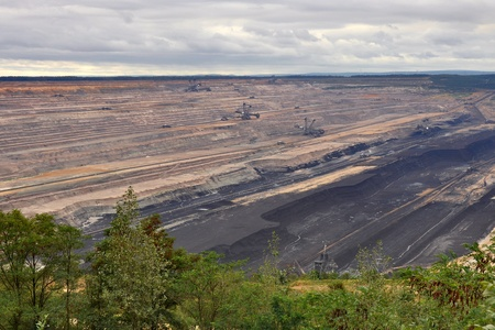 degrading: panoramic view into a germal brown coal mining Stock Photo
