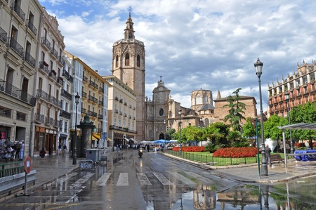 Plaza de la Reina with Cathedral in the historic downtown of Valencia Spain