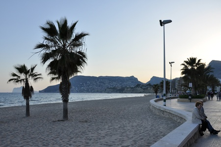 mediterranian: Evening at the beach in Calpe at the spanish Mediterranian Sea coast Costa Blanca Stock Photo