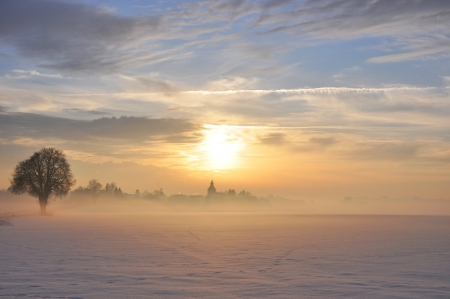 Sunset in Winter in a fantastic bavarian landscape photo