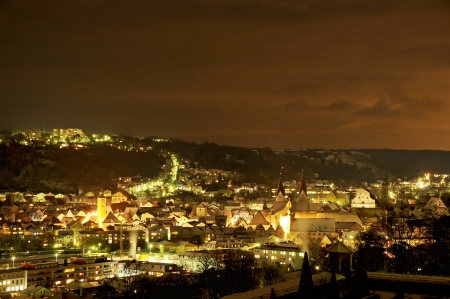 Night view in winter over the city Eichst�tt in Bavaria photo