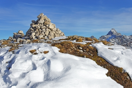 Stone pyramid in the Alps Stock Photo - 17174895