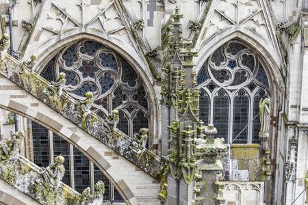 Statuen von dekorativen und Fantasiefiguren auf Sint Jan Kathedrale in Den Bosch, Niederlande Editorial