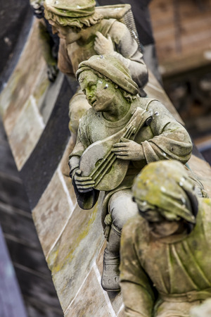 Statues of decorative and fantasy figures on the buttresses of St.Jan Cathedral in s-Hertogenbosch, Neth Stock Photo