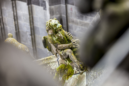 Statues of decorative and fantasy figures on Sint Jan cathedral in Den Bosch, The Netherlands Stock Photo