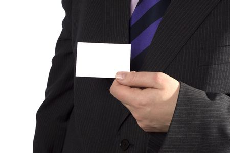 A businessman showing you a blank card.