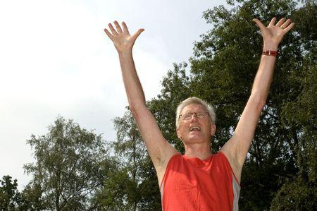 Active senior finished the marathon.