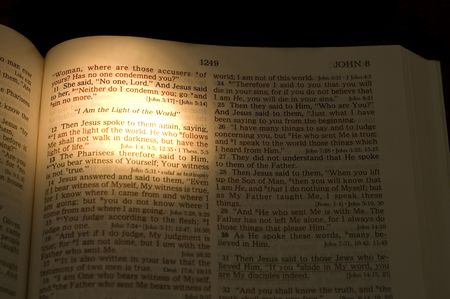 Closeup of the Bible. On dark background.