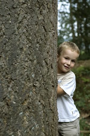 hide and seek: Boy playing hide and seek.