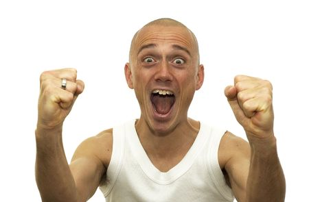 enormous: This man just won an enormous amount of money and is sooo happy. Stock Photo