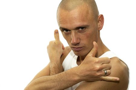 raged: A cool man standing in front of you, holding his hands in a fighting pose. Stock Photo