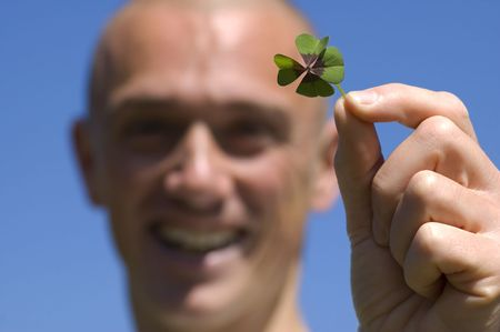 This man found a four leaf clover, its his lucky day!