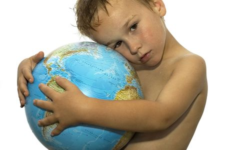 Stop the global warming! Picture of a sweating boy holding a globe, representing the rising temperature on our earth. Hes got his whole life in front of him.