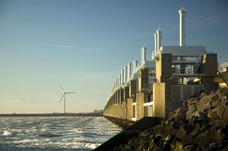 windy energy: Storm surge barrier in Zeeland, Holland. Build after the storm disaster in 1953.