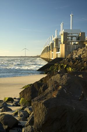watermanagement: Storm surge barrier in Zeeland, Holland. Build after the storm disaster in 1953.