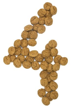 pepernoot: Little ginger nuts in the form of the digit four. These little ginger nuts are used in Holland for the