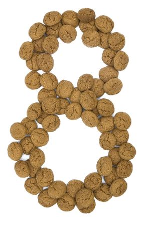 pepernoot: Little ginger nuts in the form of the digit eight. These little ginger nuts are used in Holland for the  Stock Photo