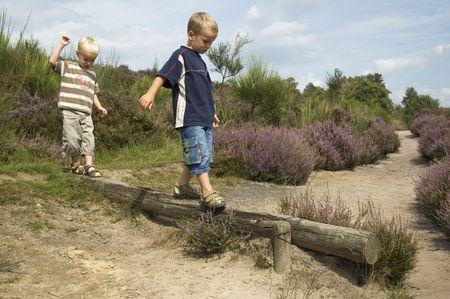 Two boys balancing on a tree. Фото со стока